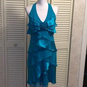 Cache' dress aqua ruffle halter style size 6